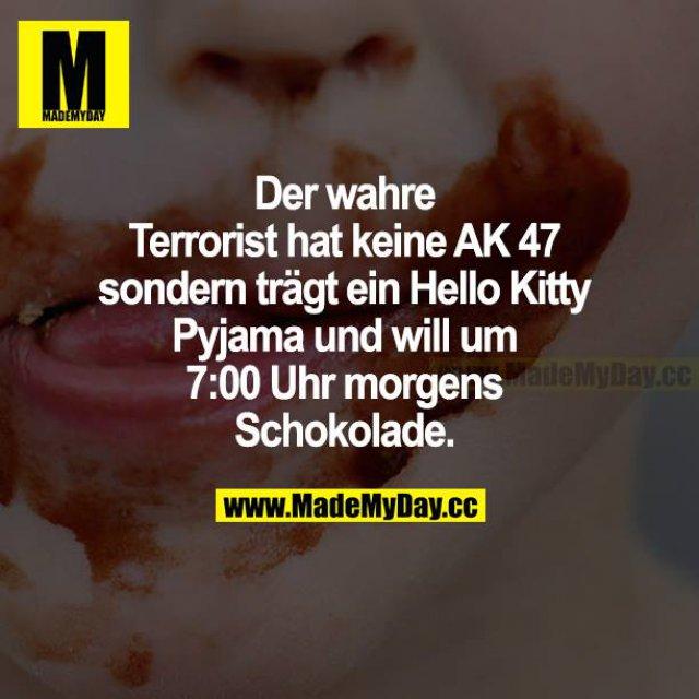 Der wahre Terrorist hat keine AK 47 sondern trägt ein Hello Kitty Pyjama und will um 7:00 Uhr morgens Schokolade.