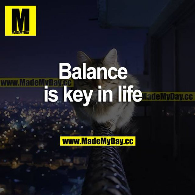 Balance is key in life