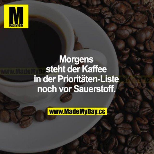 Morgens steht der Kaffee in der Prioritäten-Liste noch vor Sauerstoff.