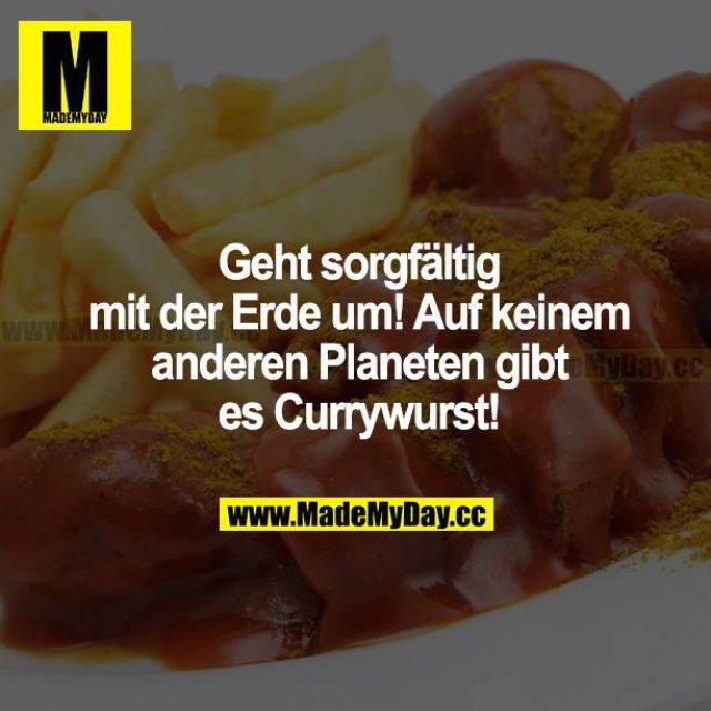 Geht sorgfältig mit der Erde um! Auf keinem anderen Planeten gibt es Currywurst!