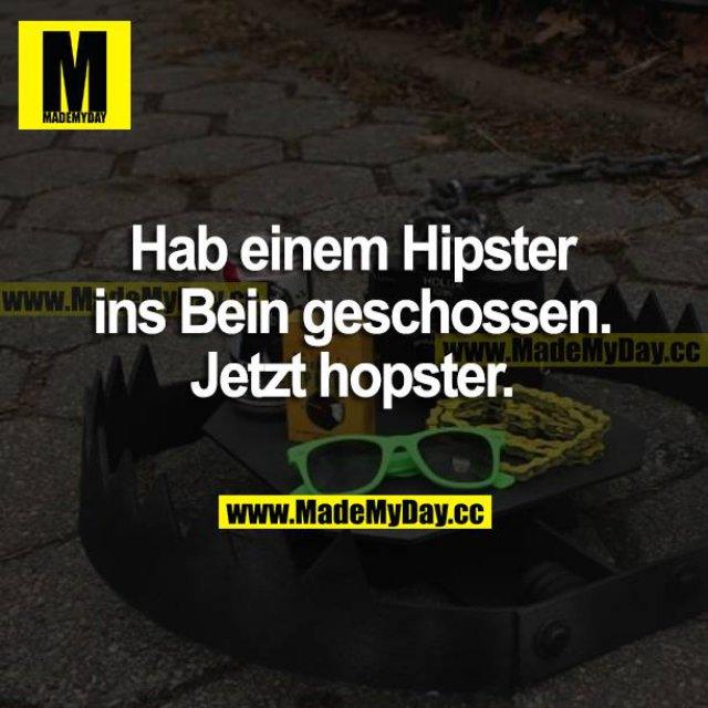 Hab einem Hipster ins Bein geschossen. Jetzt hopster.