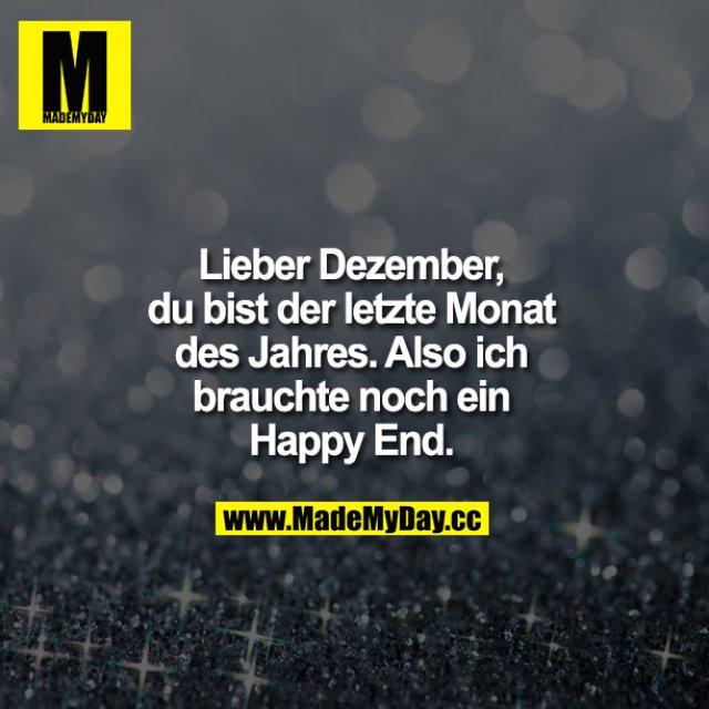 Lieber Dezember, du bist der letzte Monat des Jahres.<br /> Also ich bräuchte noch ein Happy End!!!