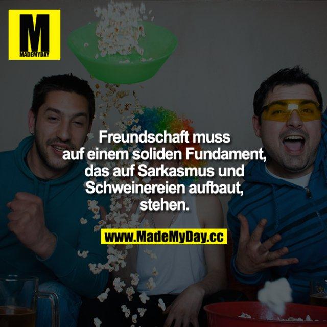 Freundschaft muss auf einem soliden Fundament, das auf Alkohol, Sarkasmus und Schweinereien aufbaut, stehen.
