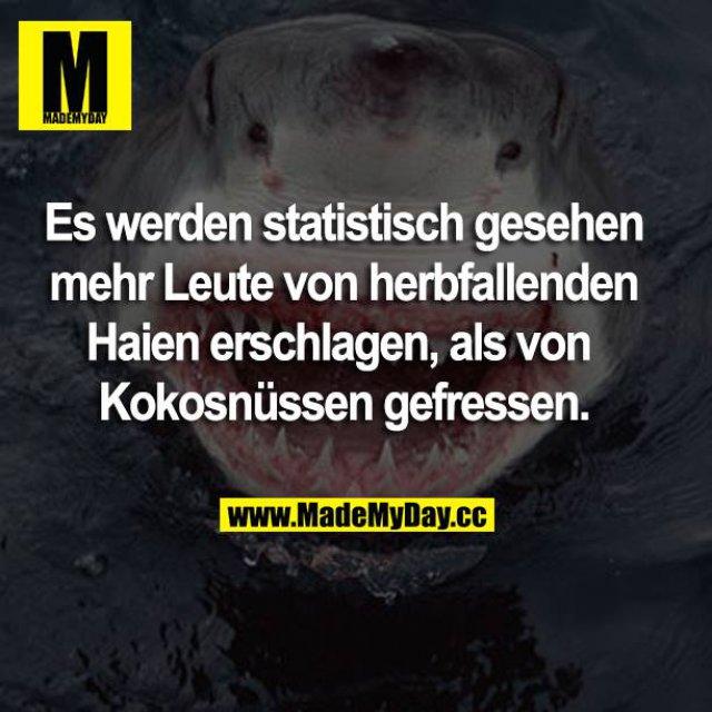 Es werden statistisch gesehen mehr Leute von herabfallenden Haien erschlagen, als von Kokosnüssen gefressen.