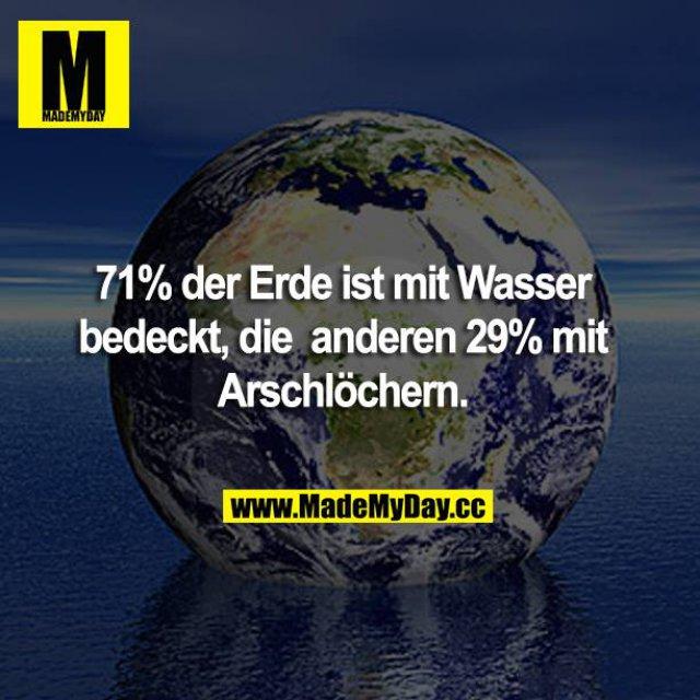71% der Erde ist mit Wasser bedeckt, die anderen 29% mit Arschlöchern.
