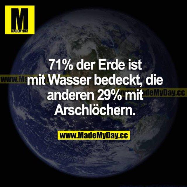 72% der Erde ist mit Wasser bedeckt, die anderen 29% mit Arschlöchern.