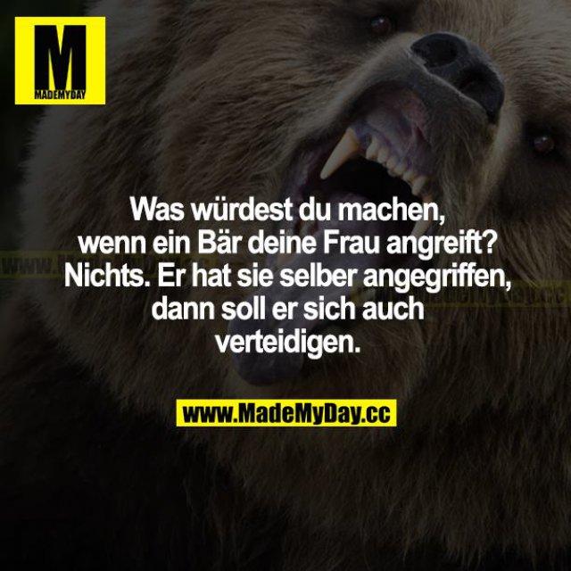 Was würdest du machen, wenn ein Bär deine Frau angreift? Nichts. Er hat sie selber angegriffen, dann soll er sich auch verteidigen.