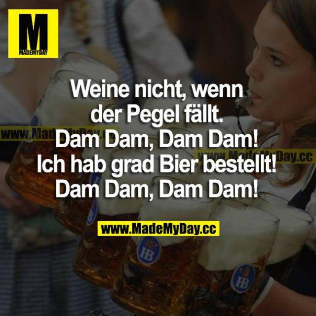 Weine nicht, wenn der Pegel fällt. <br /> Dam Dam, Dam Dam!<br /> Ich hab grad Bier bestellt!<br /> Dam Dam, Dam Dam!