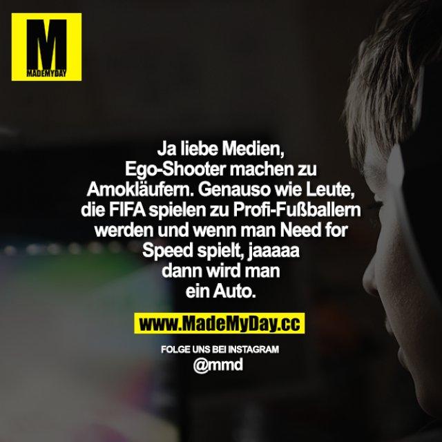 Ja liebe Medien, Ego-Shooter machen zu Amokläufern. Genauso wie Leute, die FIFA spielen zu Profi-Fußballern werden<br /> und wenn man Need for Speed spielt, jaaaaa dann wird man ein Auto.