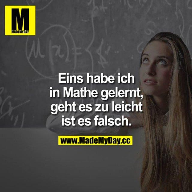 Eins habe ich in Mathe gelernt, geht es zu leicht ist es falsch.