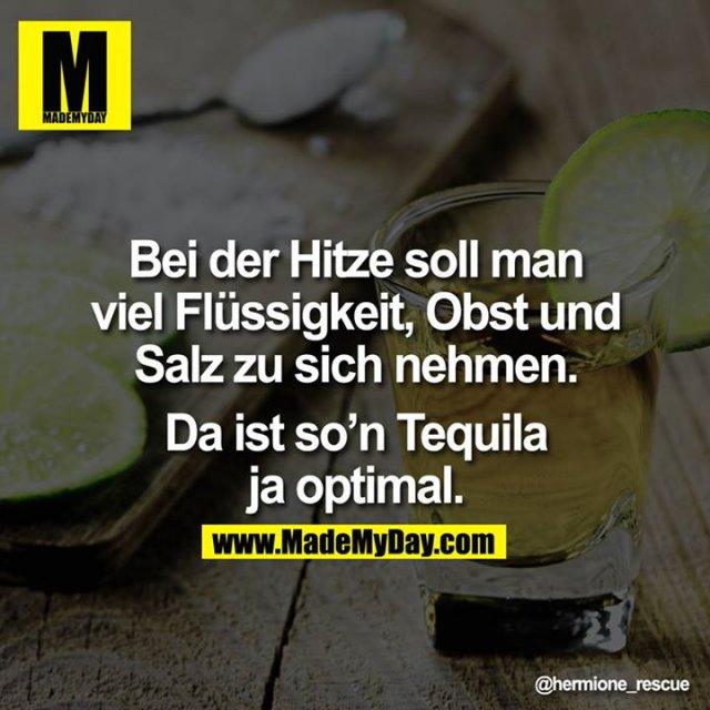 Bei der Hitze soll man viel Flüssigkeit, Obst und Salz zu sich nehmen.<br /> <br /> Da ist so'n Tequila ja optimal.
