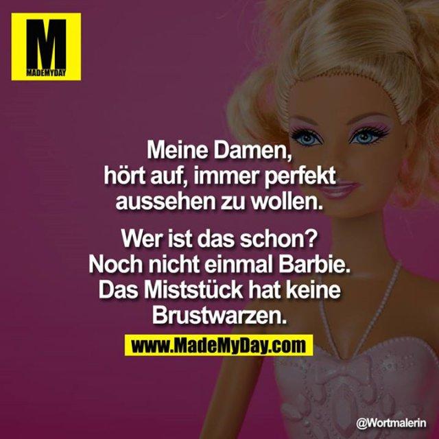 Meine Damen, hört auf, immer perfekt aussehen zu wollen. Wer ist das schon? Noch nicht einmal Barbie. Das Miststück hat keine Brustwarzen.