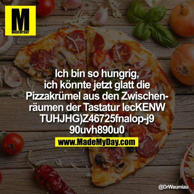 Ich bin so hungrig, ich könnte jetzt glatt die Pizzakrümel aus den Zwischenräumen der Tastatur lecKENWTUH- JHG)Z46725fnalop-j9u90uvh890u0
