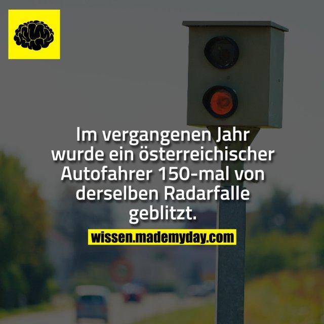 Im vergangenen Jahr wurde ein österreichischer Autofahrer 150-mal von derselben Radarfalle geblitzt.