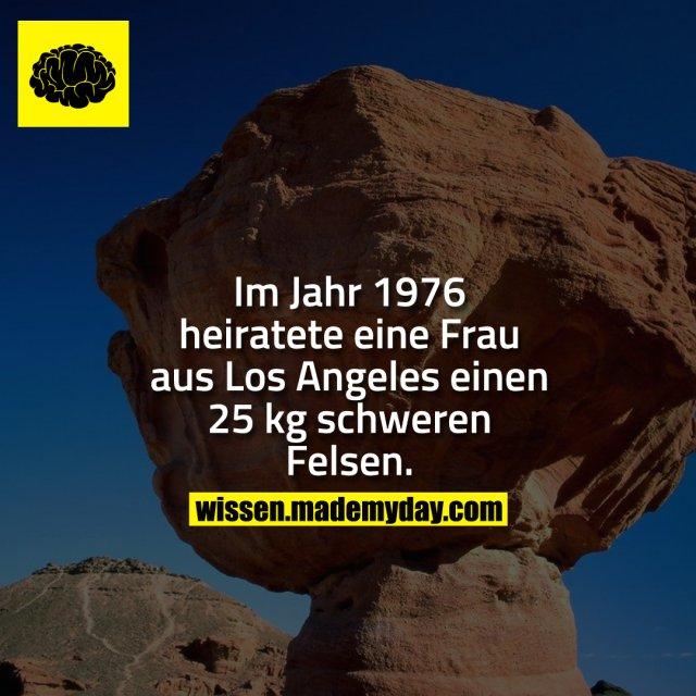 Im Jahr 1976 heiratete eine Frau aus Los Angeles einen 25 kg schweren Felsen.
