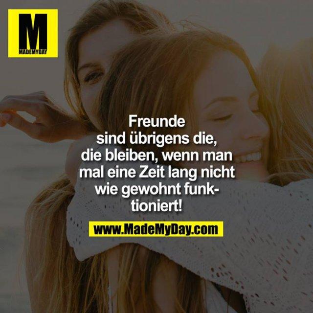 Freunde sind übrigens die, die bleiben, wenn man mal eine Zeit lang nicht wie gewohnt funktioniert!