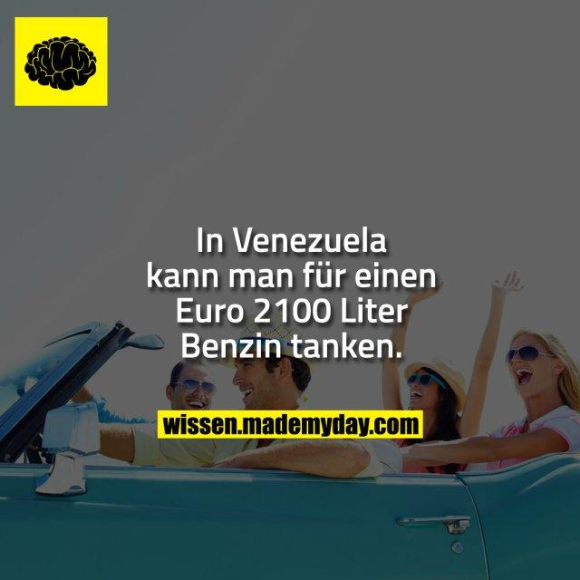 In Venezuela kann man für einen Euro 2100 Liter Benzin tanken.