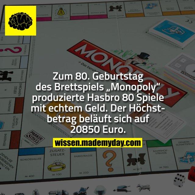 """Zum 80. Geburtstag des Brettspiels """"Monopoly"""" produzierte Hasbro 80 Spiele mit echtem Geld. Der Höchstbetrag beläuft sich auf 20850 Euro."""