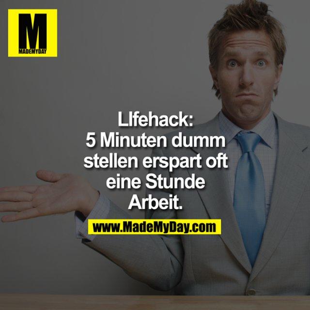 LIfehack:<br /> 5 Minuten dumm stellen erspart oft eine Stunde Arbeit.