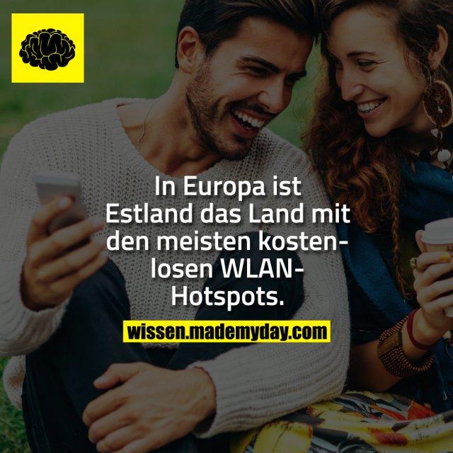 In Europa ist Estland das Land mit den meisten kostenlosen WLAN-Hotspots.
