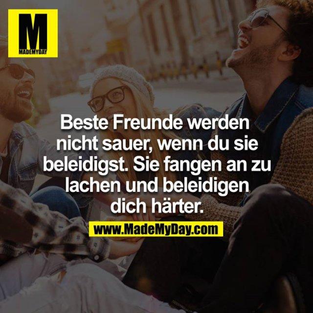 Beste Freunde werden nicht sauer, wenn du sie beleidigst, sie fangen an zu lachen und beleidigen dich härter.