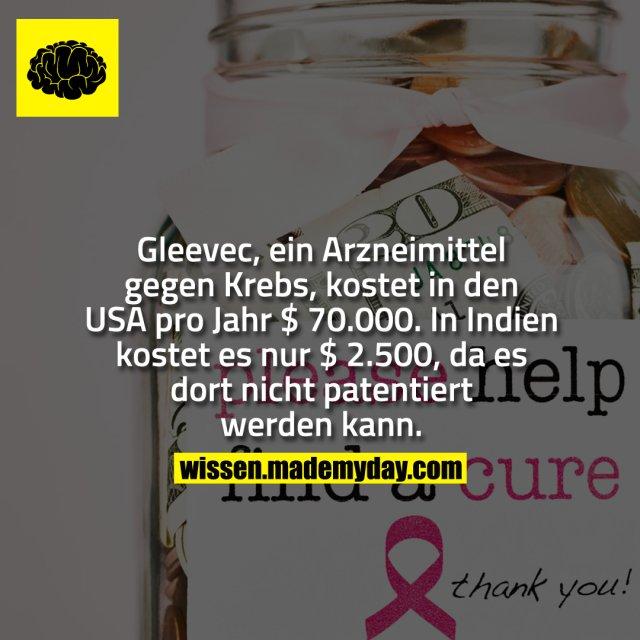 Gleevec, ein Arzneimittel gegen Krebs, kostet in den USA pro Jahr $ 70.000. In Indien kostet es nur $ 2.500, da es dort nicht patentiert werden kann.