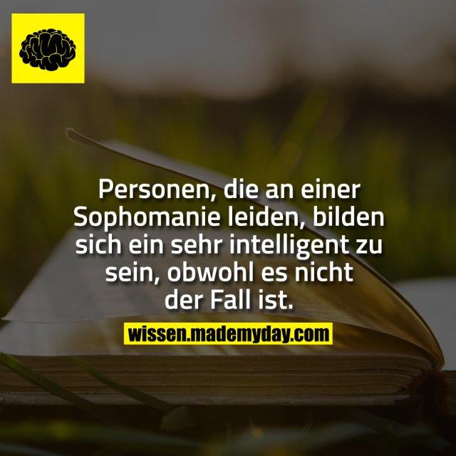 Personen, die an einer Sophomanie leiden, bilden sich ein sehr intelligent zu sein, obwohl es nicht der Fall ist.
