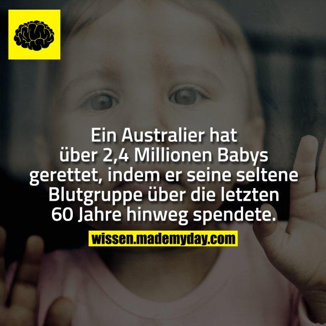 Ein Australier hat über 2,4 Millionen Babys gerettet, indem er seine seltene Blutgruppe über die letzten 60 Jahre hinweg spendete.