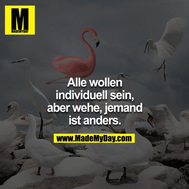 Alle wollen individuell sein, aber wehe, jemand ist anders.<br />