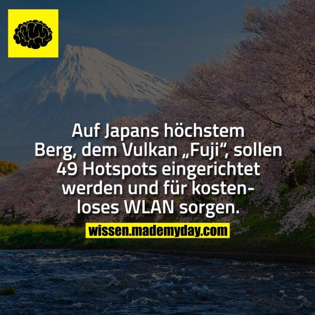 """Auf Japans höchstem Berg, dem Vulkan """"Fuji"""", sollen 49 Hotspots eingerichtet werden und für kostenloses WLAN sorgen."""