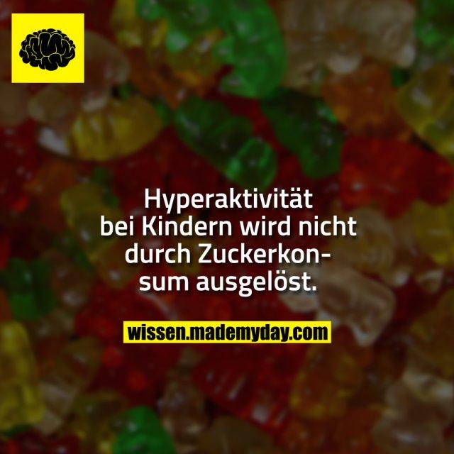 Hyperaktivität bei Kindern wird nicht durch Zuckerkonsum ausgelöst.