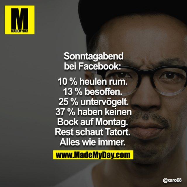 Sonntagabend bei Facebook: <br /> <br /> 10% heulen rum. <br /> 13% besoffen. <br /> 25% untervögelt.<br /> 37% haben keinen bock auf Montag. <br /> Rest schaut Tatort. <br /> Alles wie immer. <br />