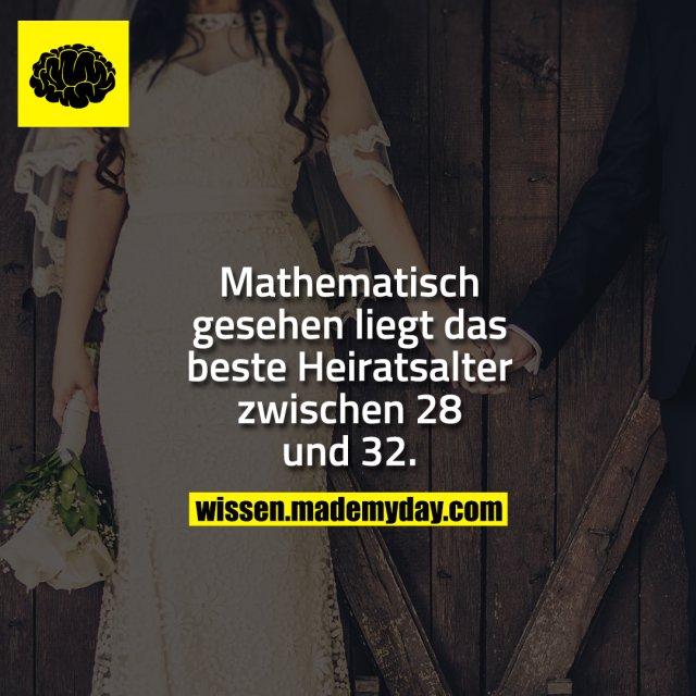 Mathematisch gesehen liegt das beste Heiratsalter zwischen 28 und 32.