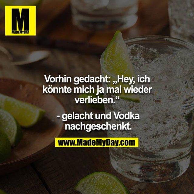 """Vorhin gedacht: """"Hey, ich könnte mich ja mal wieder verlieben.""""<br /> <br />  - gelacht und Vodka nachgeschenkt."""