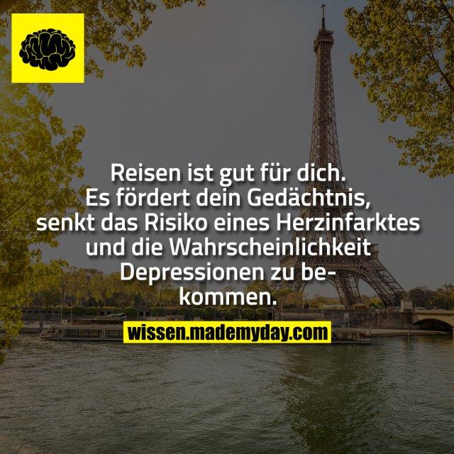 Reisen ist gut für dich. Es fördert dein Gedächtnis, senkt das Risiko eines Herzinfarktes und die Wahrscheinlichkeit Depressionen zu bekommen.
