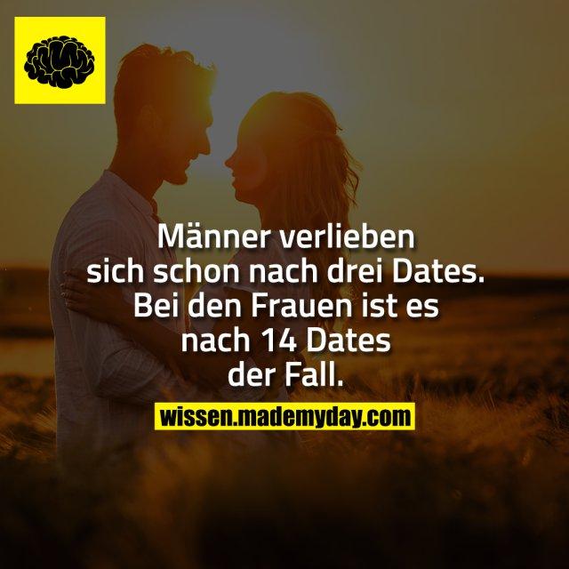 Männer verlieben sich schon nach drei Dates. Bei den Frauen ist es nach 14 Dates der Fall.