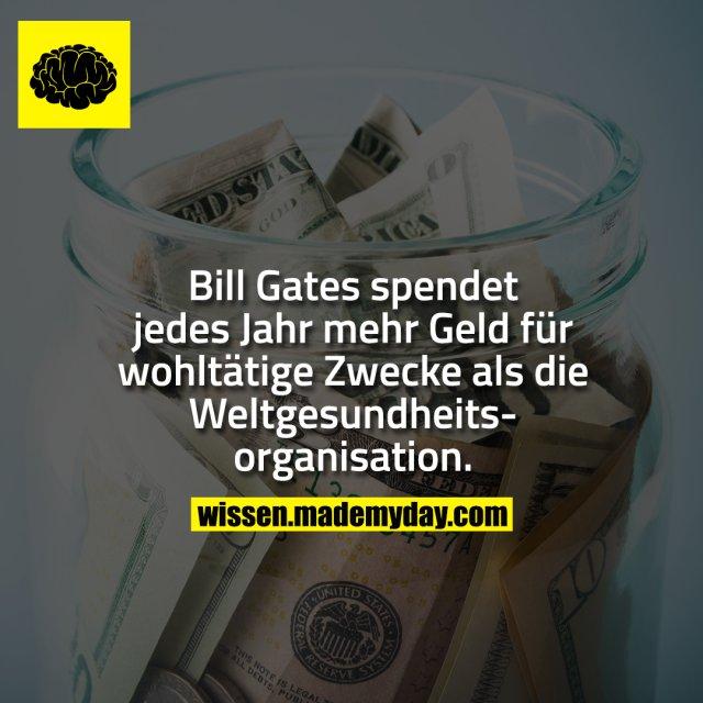 Bill Gates spendet jedes Jahr mehr Geld für wohltätige Zwecke als die Weltgesundheitsorganisation.