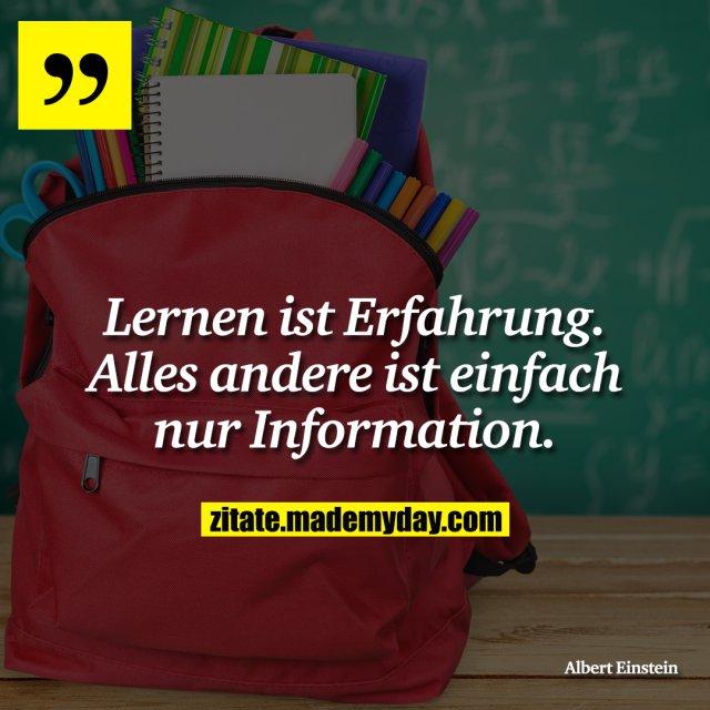 Lernen ist Erfahrung. Alles andere ist einfach nur Information.