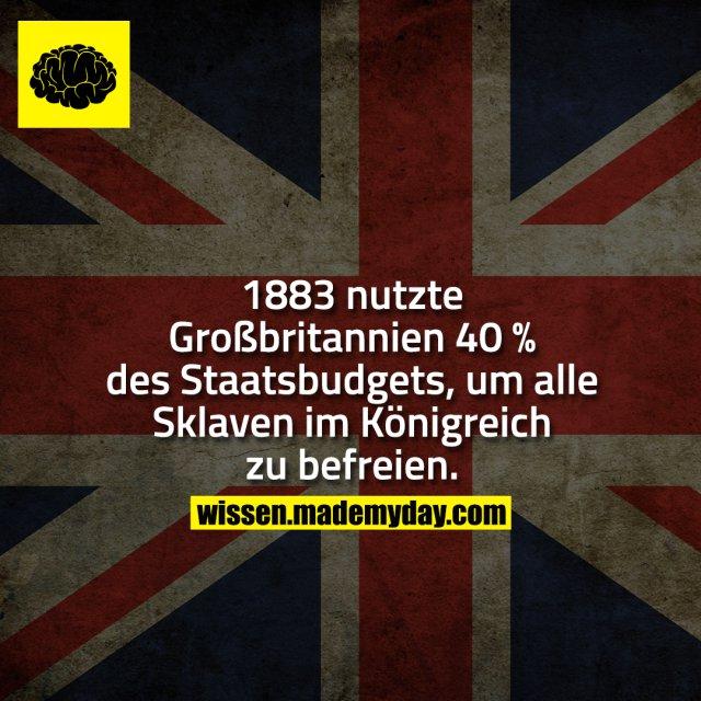 1883 nutzte Großbritannien 40 % des Staatsbudgets, um alle Sklaven im Königreich zu befreien.