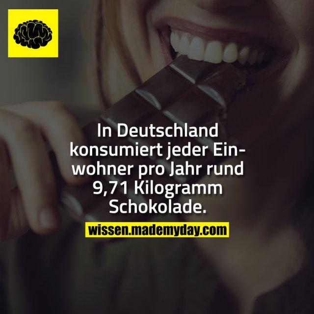 In Deutschland konsumiert jeder Einwohner pro Jahr rund 9,71 Kilogramm Schokolade.