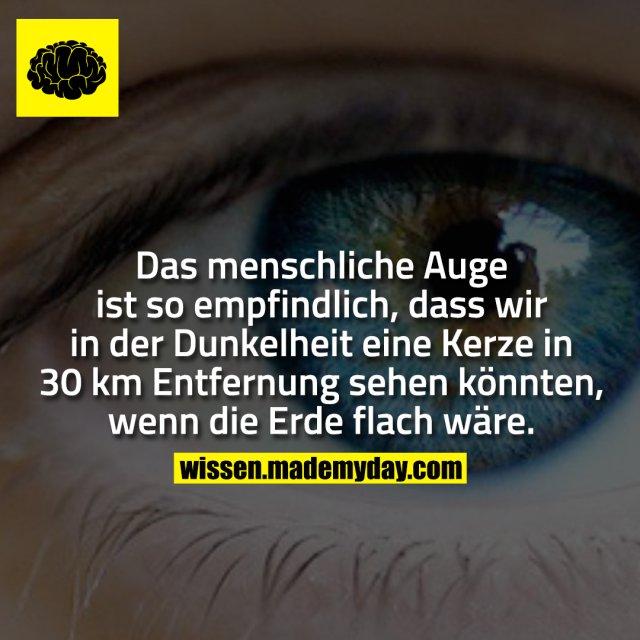Das menschliche Auge ist so empfindlich, dass wir in der Dunkelheit eine Kerze in 30 km Entfernung sehen könnten, wenn die Erde flach wäre.