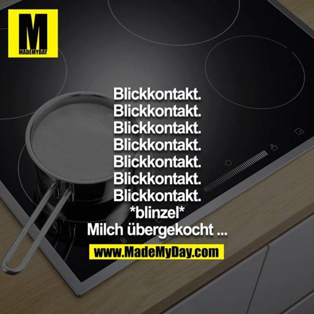 Blickkontakt.<br /> Blickkontakt.<br /> Blickkontakt.<br /> Blickkontakt.<br /> Blickkontakt.<br /> Blickkontakt.<br /> Blickkontakt.<br /> *blinzel*<br /> Milch übergekocht ...