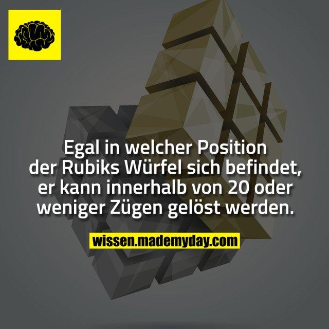 Egal in welcher Position der Rubiks Würfel sich befindet, er kann innerhalb von 20 oder weniger Zügen gelöst werden.