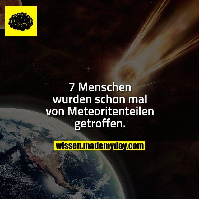 7 Menschen wurden schon mal von Meteoritenteilen getroffen.