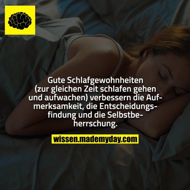 Gute Schlafgewohnheiten (zur gleichen Zeit schlafen gehen und aufwachen) verbessern die Aufmerksamkeit, die Entscheidungsfindung und die Selbstbeherrschung.