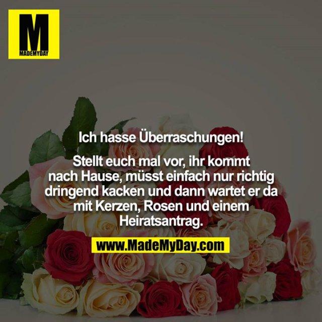 Ich hasse Überraschungen!<br /> <br /> Stellt euch mal vor, ihr kommt nach Hause, müsst einfach nur richtig dringend kacken und dann wartet er da mit Kerzen, Rosen und einem Heiratsantrag.