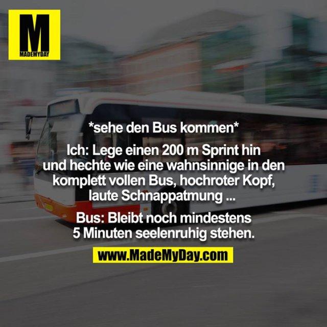 *sehe den Bus kommen*<br /> <br /> Ich: Lege einen 200m Sprint hin und hechte wie eine wahnsinnige in den komplett vollen Bus, hochroter Kopf, laute Schnappatmung ... <br /> <br /> Bus: Bleibt noch mindestens 5 Minuten seelenruhig stehen.
