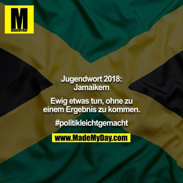 Jugendwort 2018: Jamaikern<br /> <br /> Ewig etwas tun, ohne zu einem Ergebnis zu kommen.<br /> <br /> #politikleichtgemacht