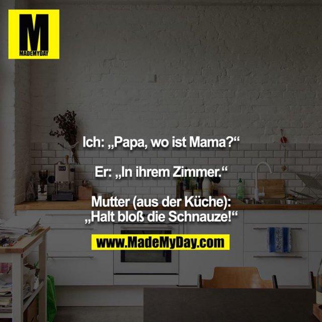 """Ich: """"Papa, wo ist Mama?""""<br /> <br /> Er: """"In ihrem Zimmer.""""<br /> <br /> Mutter (aus der Küche): """"Halt bloß die Schnauze!"""""""