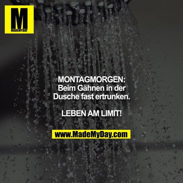 MONTAGMORGEN:<br /> Beim Gähnen in der Dusche fast ertrunken.<br /> <br /> LEBEN AM LIMIT!